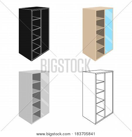 Light Cabinet with bins and mirror.Wardrobe for women's clothing.Bedroom furniture single icon in cartoon style vector symbol stock web illustration.