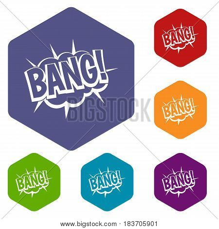 Bang, speech bubble explosion icons set hexagon isolated vector illustration