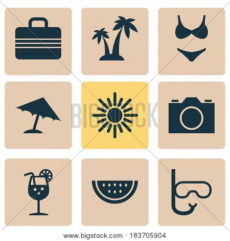 Season Icons Set. Collection Of Baggage, Parasol, Vitamin And Other Elements. Also Includes Symbols Such As Swimming, Juice, Bikini.