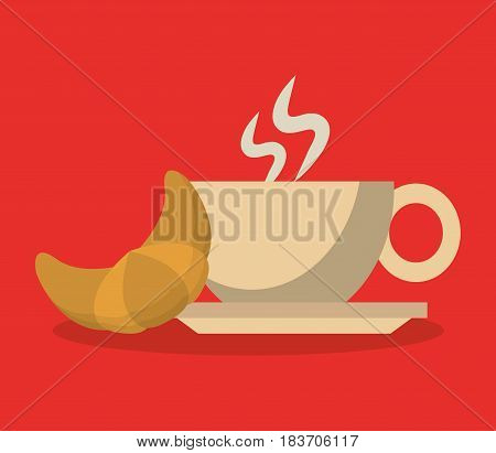 background porcelain cup of coffee in crockery with croissant vector illustration