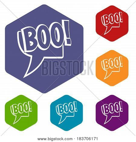 BOO, comic text speech bubble icons set hexagon isolated vector illustration