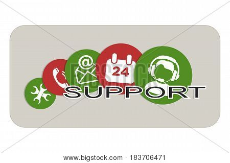 Set of Icons for Technical Support form a Banner.