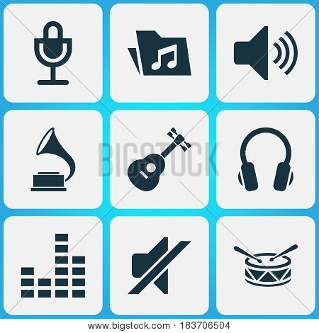 Audio Icons Set. Collection Of Barrel, Earphone, Silence And Other Elements. Also Includes Symbols Such As Earphone, Guitar, Instrument.