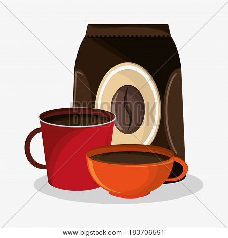 set porcelain mugs and packaking of coffee vector illustration