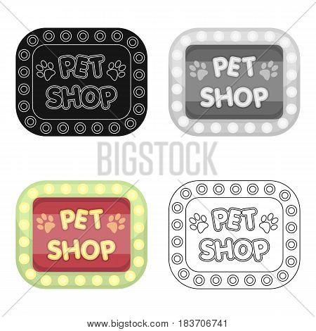 Pet shop sign.Pet shop single icon in cartoon style vector symbol stock illustration .
