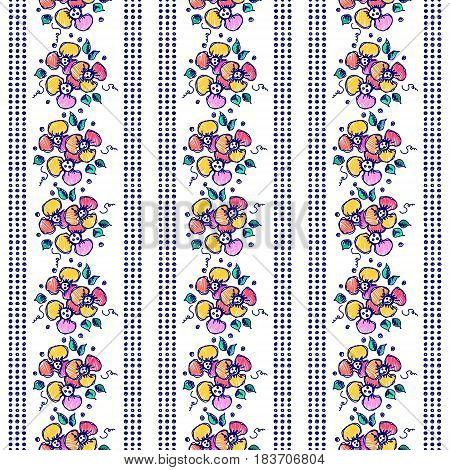 Seamless Vector Hand Drawn Floral Pattern. Colorful Background With Flowers, Leaves. Decorative Cute