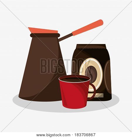 plastic coffee maker with bag of coffee and porcelain mug vector illustration