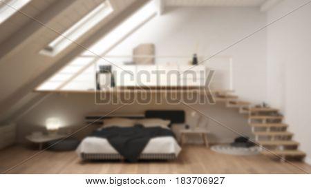 Blur background interior design loft mezzanine scandinavian minimalist bedroom white classic, 3d illustration
