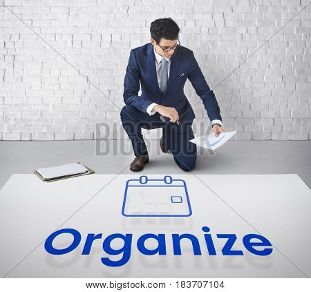 Man planning with illustration of personal organizer calendar