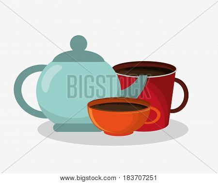 porcelain tea kettle with set mug and cup of coffee vector illustration