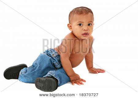 Curious One Year Old African American Baby Boy on Isolated Background