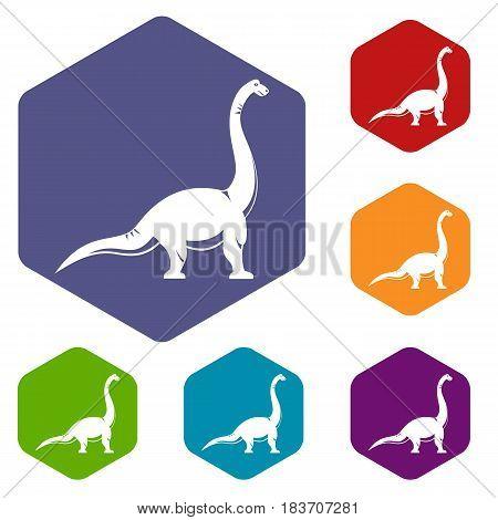 Brachiosaurus dinosaur icons set hexagon isolated vector illustration