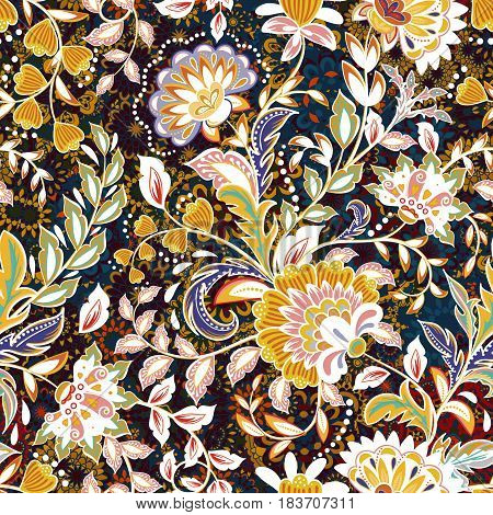 Incredible flower pattern. Multicolored bright floral vector background. Vintage seamless pattern in provence style.
