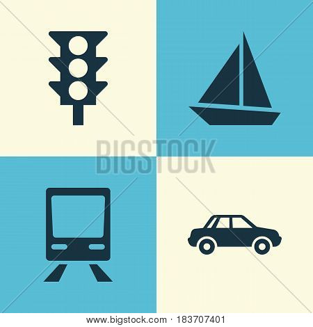 Transportation Icons Set. Collection Of Automobile, Railway, Stoplight And Other Elements. Also Includes Symbols Such As Railway, Yacht, Automobile.