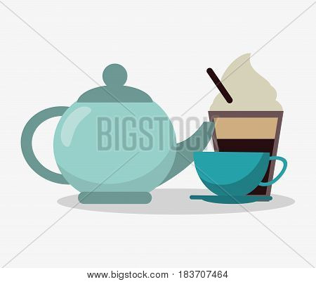 porcelain tea kettle with cup of coffee and glass disponsable of cappucino with cream vector illustration
