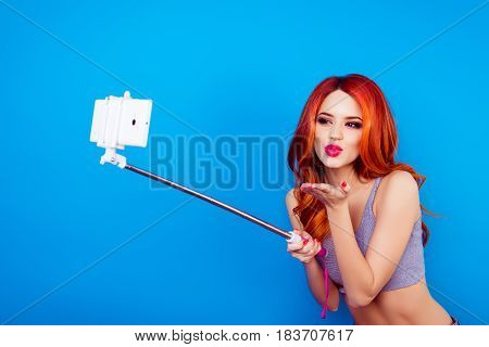 Portrait Of Pretty Charming Stylish Funny Happy Carefree Girl With Cute Face Make Selfie Photo With