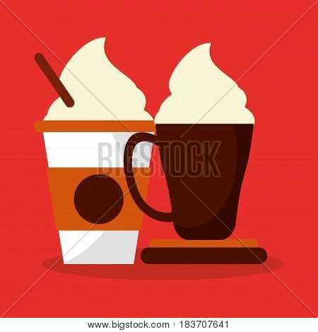 colorful background glass disponsable and mug with of cappucino and cream vector illustration