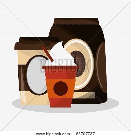 packaking of coffee with set glass disponsable for hot drinks of cappucino with cream vector illustration