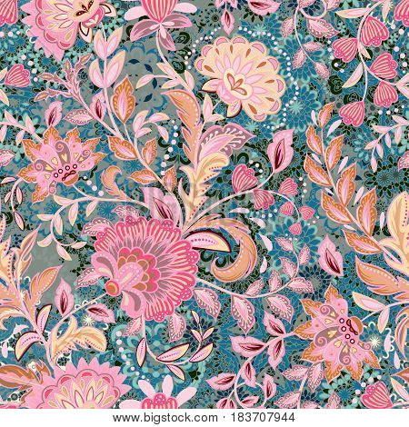 incredibly beautiful, juicy, bright, vector pattern with gentle pink fantasy flowers. Ideal for textiles, fabrics, prints and accessories.