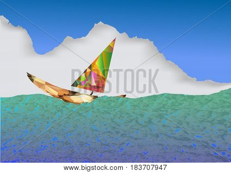 Colorful sailboat of polygons floating on the sea. Red, green, brown and yellow sailboat on a background of blue sky and clouds
