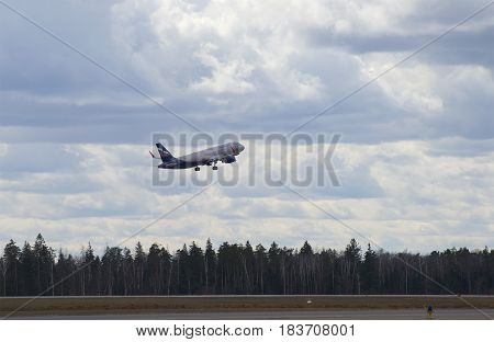 MOSCOW, RUSSIA - APRIL 15, 2015: Take off Airbus A320-214 (VP-BTI) Aeroflot. Sheremetyevo