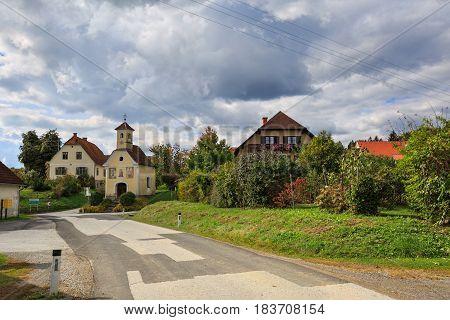Austrian village Perndorf in the fall. Municipality Puch bei Weiz , federal state Styria, Austria.