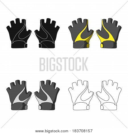 Bike hand gloves for cyclists. Protective equipment for athletes.Cyclist outfit single icon in cartoon style vector symbol stock web illustration.