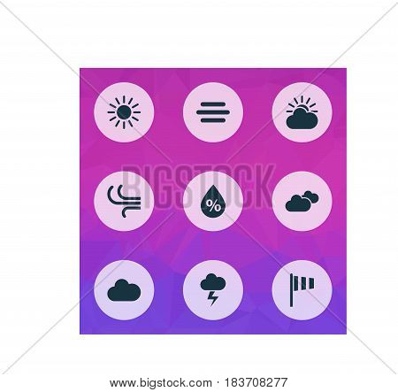 Meteorology Icons Set. Collection Of Flag, Lightning, Moisture And Other Elements. Also Includes Symbols Such As Rain, Sun, Vane.