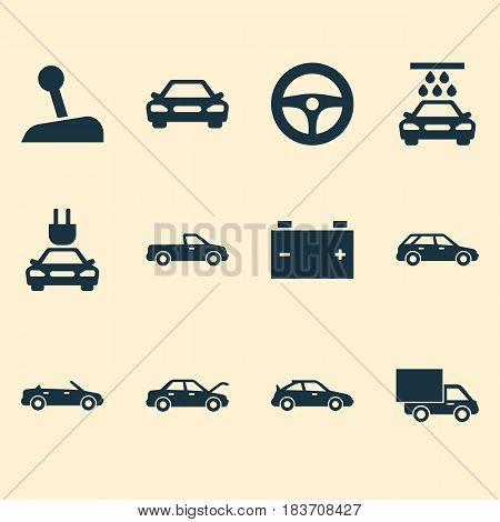 Automobile Icons Set. Collection Of Accumulator, Plug, Hatchback And Other Elements. Also Includes Symbols Such As Plug, Fixing, Battery.