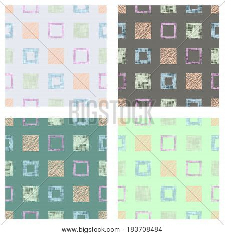 Set Of Seamless Vector Geometrical Patterns With Squares Pastel Endless Background With Hand Drawn T
