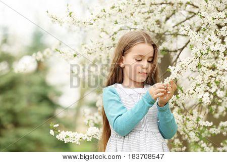 Cute little girl walking in spring park