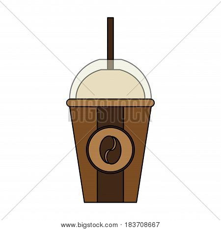 color graphic glass disposable of coffee with straw vector illustration
