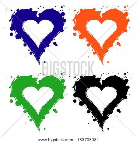 Set Of Vector Graphic Grunge Illustrations Of Heart, Sign With Ink Blot, Brush Strokes, Drops Isolat