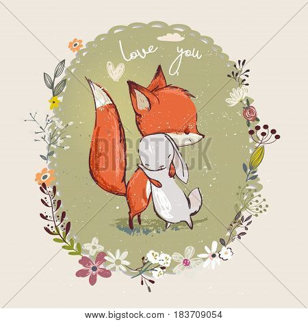 cute little cartoon hare with fox embrace with floral frame