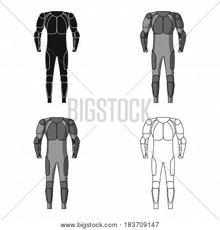 Outfitting for cyclists. Full body protection against falls.Cyclist outfit single icon in cartoon style vector symbol stock web illustration.