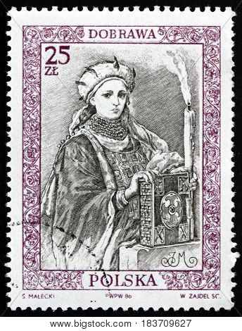 POLAND - CIRCA 1986: a stamp printed in Poland dedicated to Dobrawa of Bohemia was Bohemian Princess and by Marriage Duchess of the Polans circa 1986