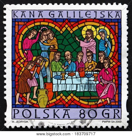 POLAND - CIRCA 2000: a stamp printed in Poland shows Wedding at Cana Scene from the Life of Jesus Christmas circa 2000