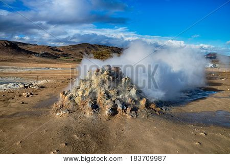 Hot and smelly Geothermal activities in Hverir Iceland