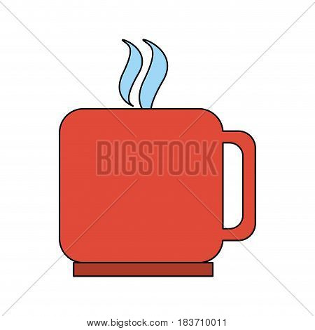 color graphic silhouette mug of coffee with steam vector illustration