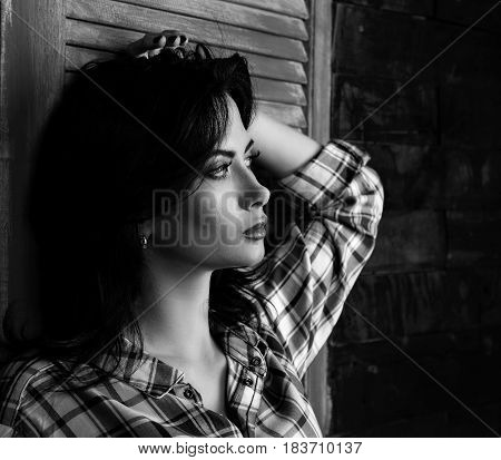 Pensive Beautiful Young Woman Profile In Trendy Black And White Checkered Shirt Thinking About Desti