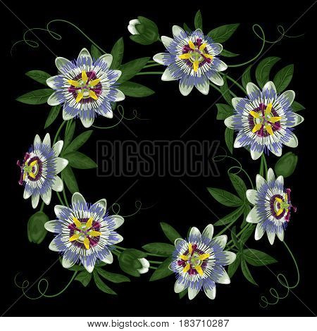 Passiflora round frame. Composition with exotic branch isolated on black. Background for wedding invitations, greeting cards.