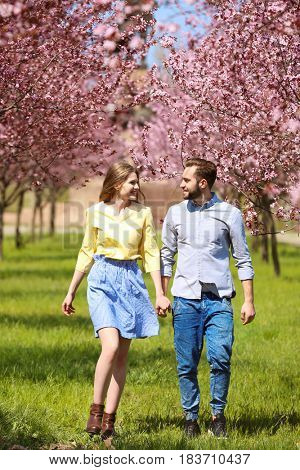 Young lovely couple walking in spring park