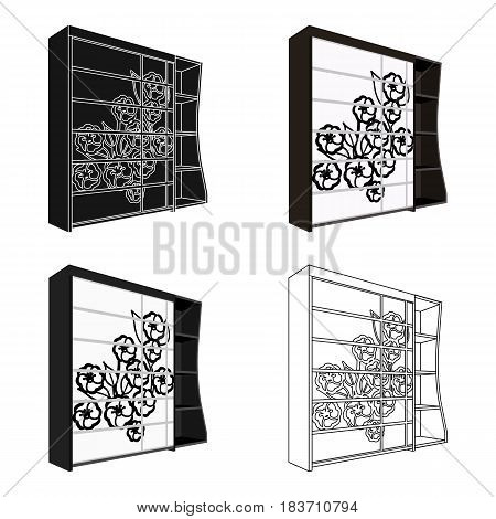 Black bedroom wardrobe with cells.Wardrobe with a beautiful rose on the door.Bedroom furniture single icon in cartoon style vector symbol stock web illustration.