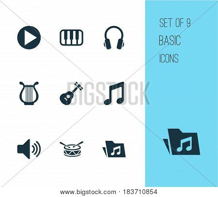 Multimedia Icons Set. Collection Of Sound, Octave, Barrel And Other Elements. Also Includes Symbols Such As Instrument, Piano, Play.