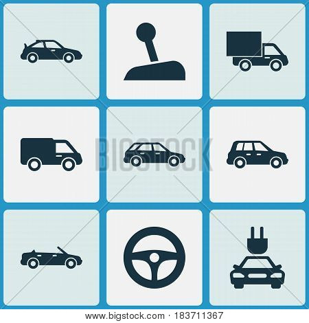 Auto Icons Set. Collection Of Plug, Crossover, Drive Control And Other Elements. Also Includes Symbols Such As Truck, Automobile, Station.