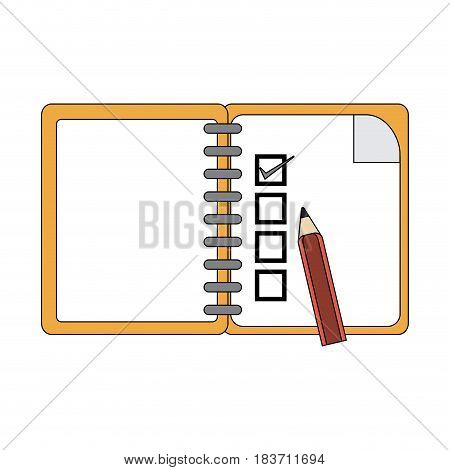 color graphic notebook icon with pencil vector illustration