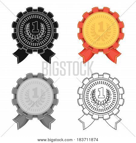 The award for first place.Gold medal with the red ribbon of the winner Olympics.Awards and trophies single icon in cartoon style vector symbol stock web illustration.