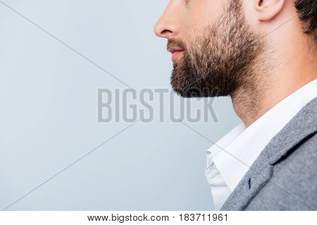 Close Up Cropped Photo Of Stylish Young Man's Bristle Against Gray Backdrop