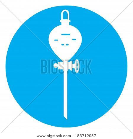 Isolated chemistry lab object on a blue button, Vector illustration