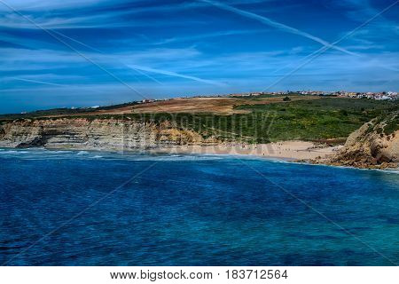 Ericeira Portugal. 13 April 2017.Ribeira de Ilhas in Ericeira.Pedra Branca beach is Part of the World Surfing Reserve and its right outside Ericeira Village. Ericeira Portugal. photography by Ricardo Rocha.